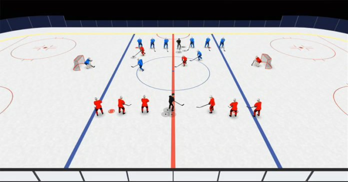 2 on 1 mid ice hockey drill